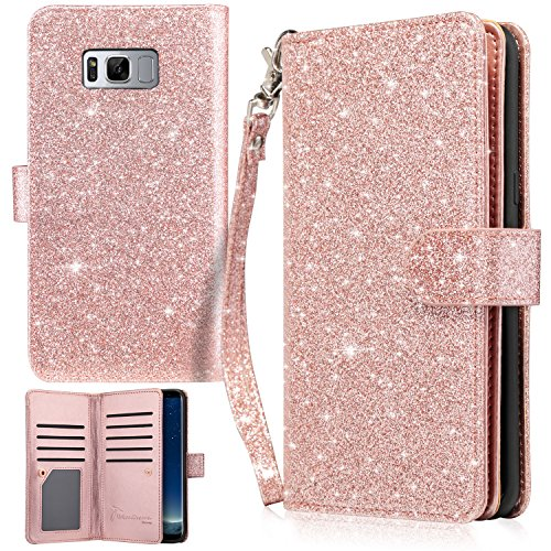 UrbanDrama Galaxy S8 Plus Case, S8 Plus Wallet Case, Sparkly Glitter Flip Cover PU Leather Folio Stand Credit Card Slot Cash Holder Protective Case for Samsung Galaxy S8 Plus, Rose Gold
