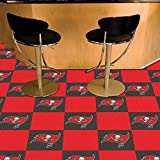 Fan Mats 8553 NFL - Tampa Bay Buccaneers 18'' x 18'' Team Carpet Tiles (10 Logo, 10 Solid per Box - appx 45 sq ft)