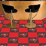 "Fan Mats 8553 NFL - Tampa Bay Buccaneers 18"" x 18"" Team Carpet Tiles (10 Logo, 10 Solid per Box - appx 45 sq ft)"