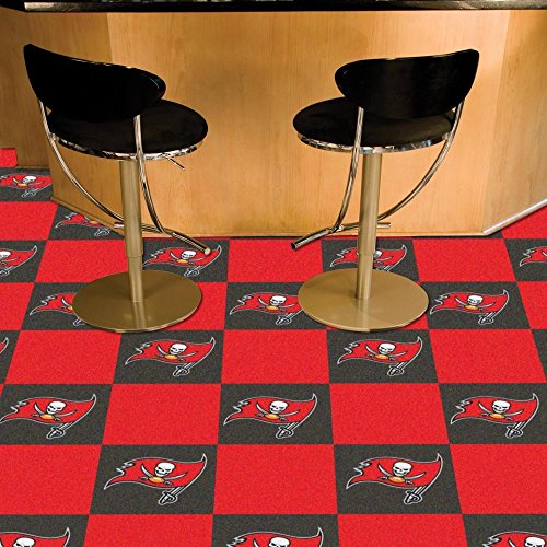 Fan Mats 8553 NFL - Tampa Bay Buccaneers 18'' x 18'' Team Carpet Tiles (10 Logo, 10 Solid per Box - appx 45 sq ft) by Fanmats