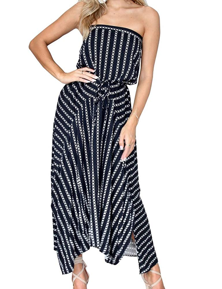 Fancyinn Damen ärmelloses trägerloses Sommerkleid mit Gürtel und abfallendem Maxikleid bleu marin S