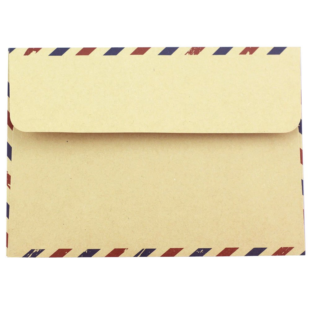Bolbove Set of 50 Classic AirMail Vintage Style Kraft Paper Postcard Letter Envelopes Invitations (Brown) by Bolbove (Image #6)