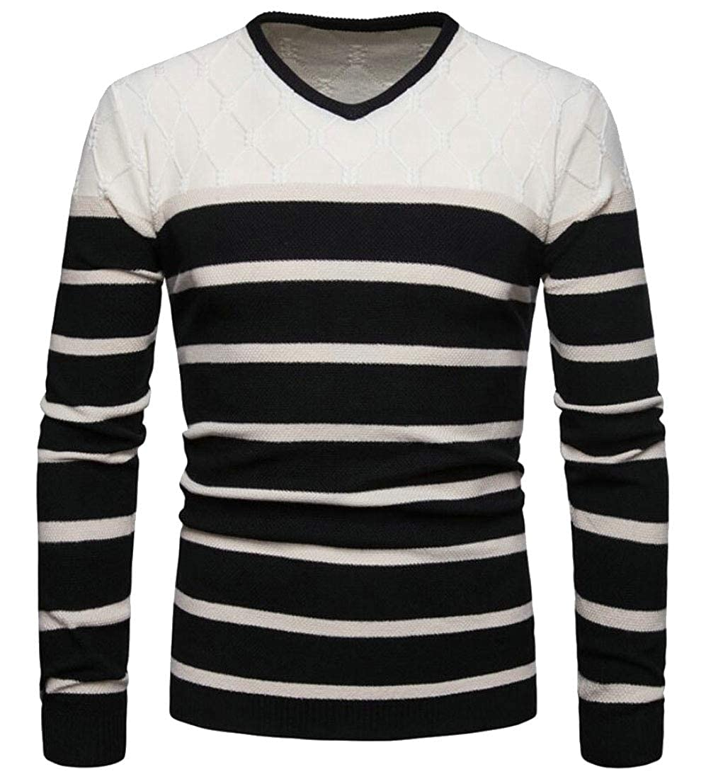 ouxiuli Men Long Sleeve Knit V Neck Striped Top Pullover Sweater