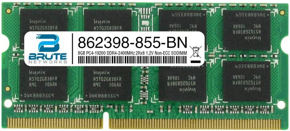 Brute Networks 862398-855-BN - 8GB PC4-19200 DDR4-2400MHz 2Rx8 1.2V Non-ECC SODIMM (Equivalent to OEM PN # 862398-855)