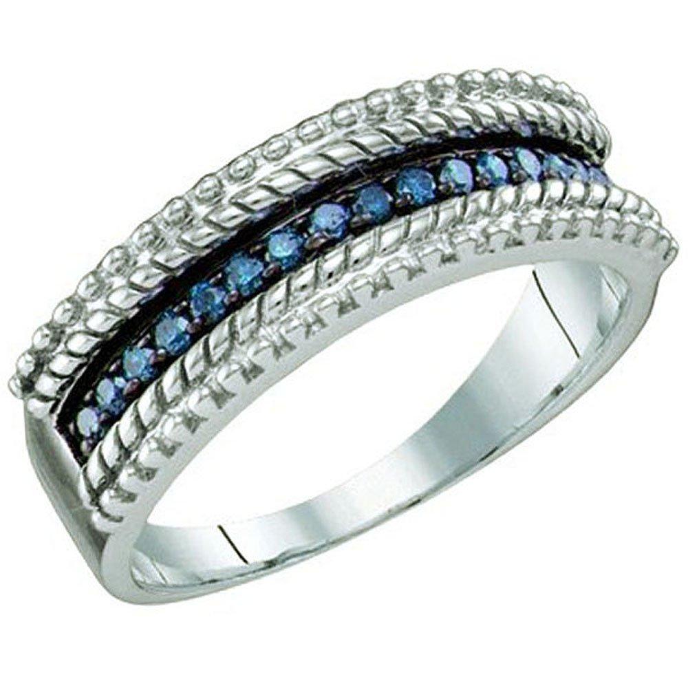 0.23 Carat (ctw) Sterling Silver Round Blue Diamond Ladies Anniversary Ring Wedding Band