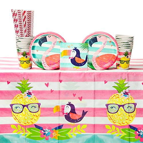 - Pineapple Birthday Party Supplies Pack for 16 Guests   Paper Straws, 16 Dessert Plates, 16 Beverage Napkins, 1 Table Cover, and 16 Cups   Great Pineapple Party Decorations for your next Tropical Party