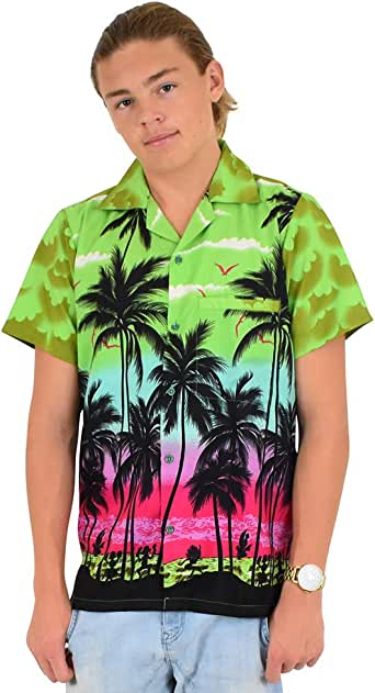 Island Style Clothing Mens Hawaiian Shirts Palms Sunset Floral Tropical Party Cruise Clothing