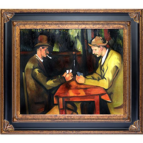 overstockArt Card Players with Pipes-Framed Oil Reproduction of an Original Painting by Paul Cezanne