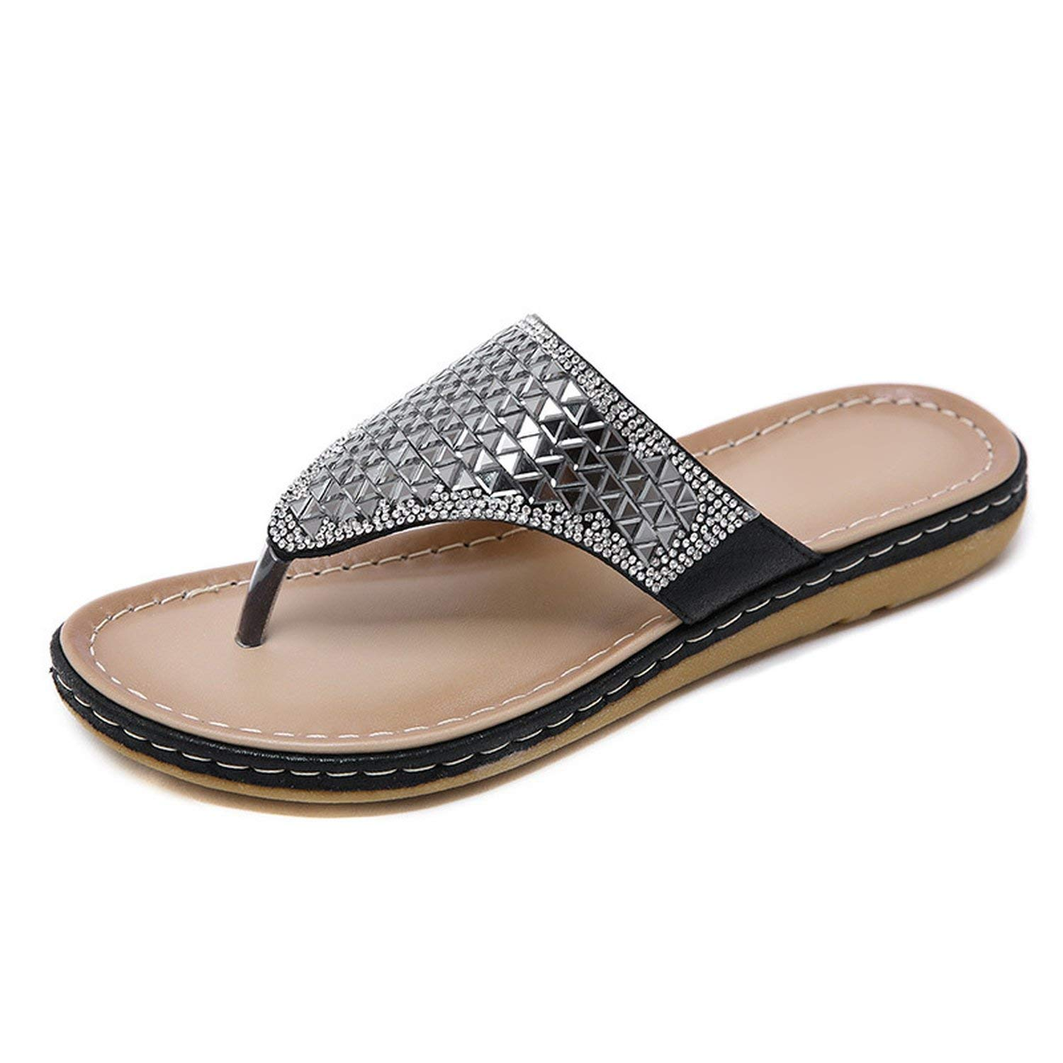 For What Reason 2019 Summer Women Slippers Bling Shoes Flat Beach Flip Flops Summer Soft Comfortable,Black,4.5