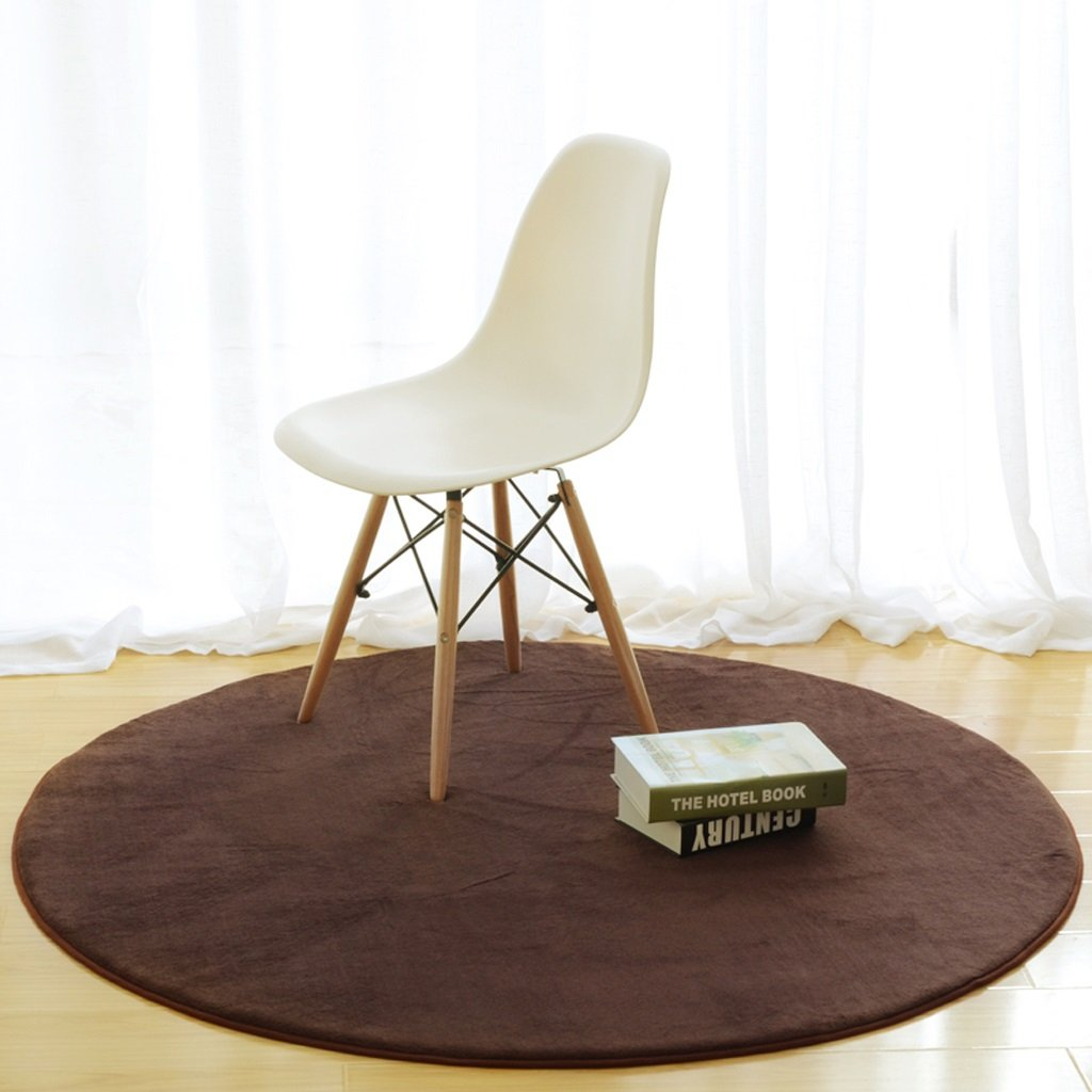 Hyun times Carpet simple round tea table bedroom living room bedside basket home solid color computer chair mats ( Color : Brown , Size : 120cm )