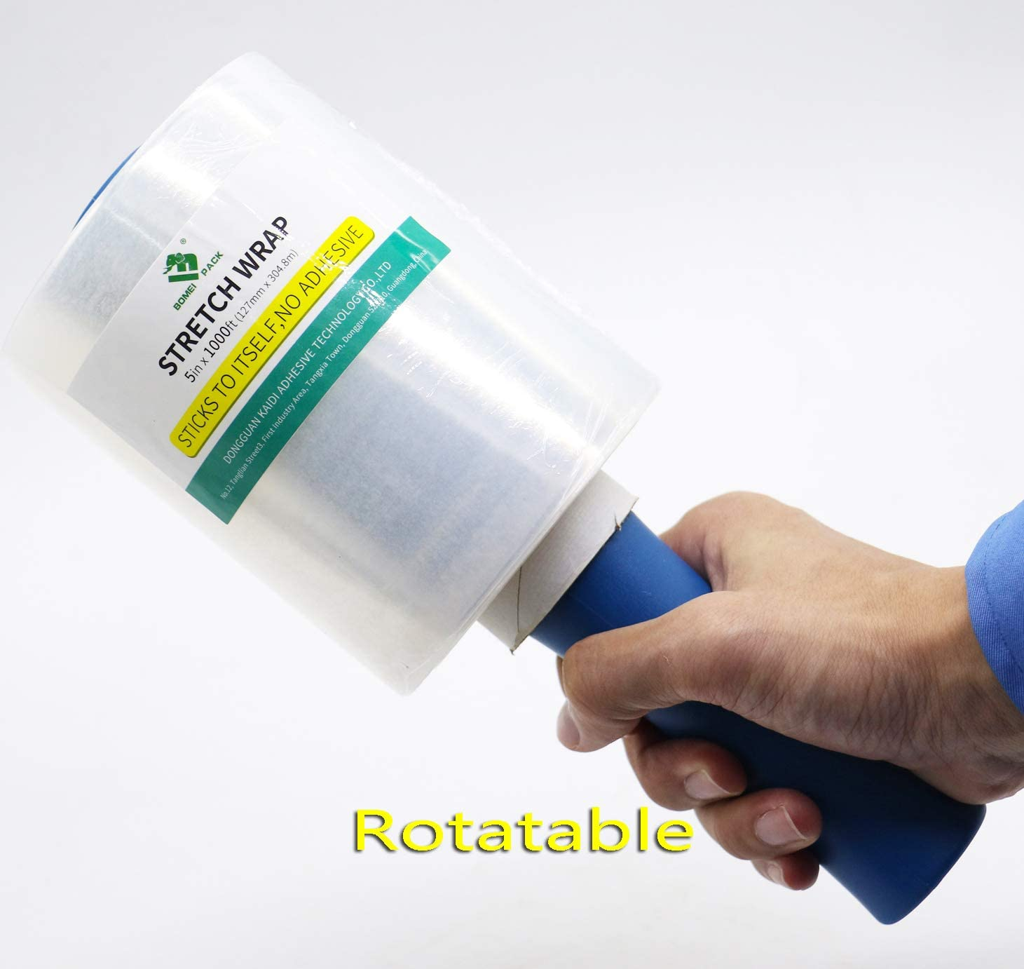 BOMEI PACK Stretch Wrap Packing Film Roll,5 inch x 1000 ft 80 Gauge,4 Packs with 1 Plastic Handle