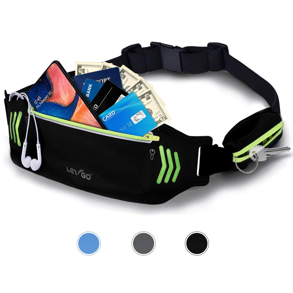 Letigo Fanny Pack Slim Soft Outdoor Dual Pouch Sweatproof Reflective Running Belt Waist Pack for Hiking Fitness Adjustable Waist Pouch for All Kinds of Phones