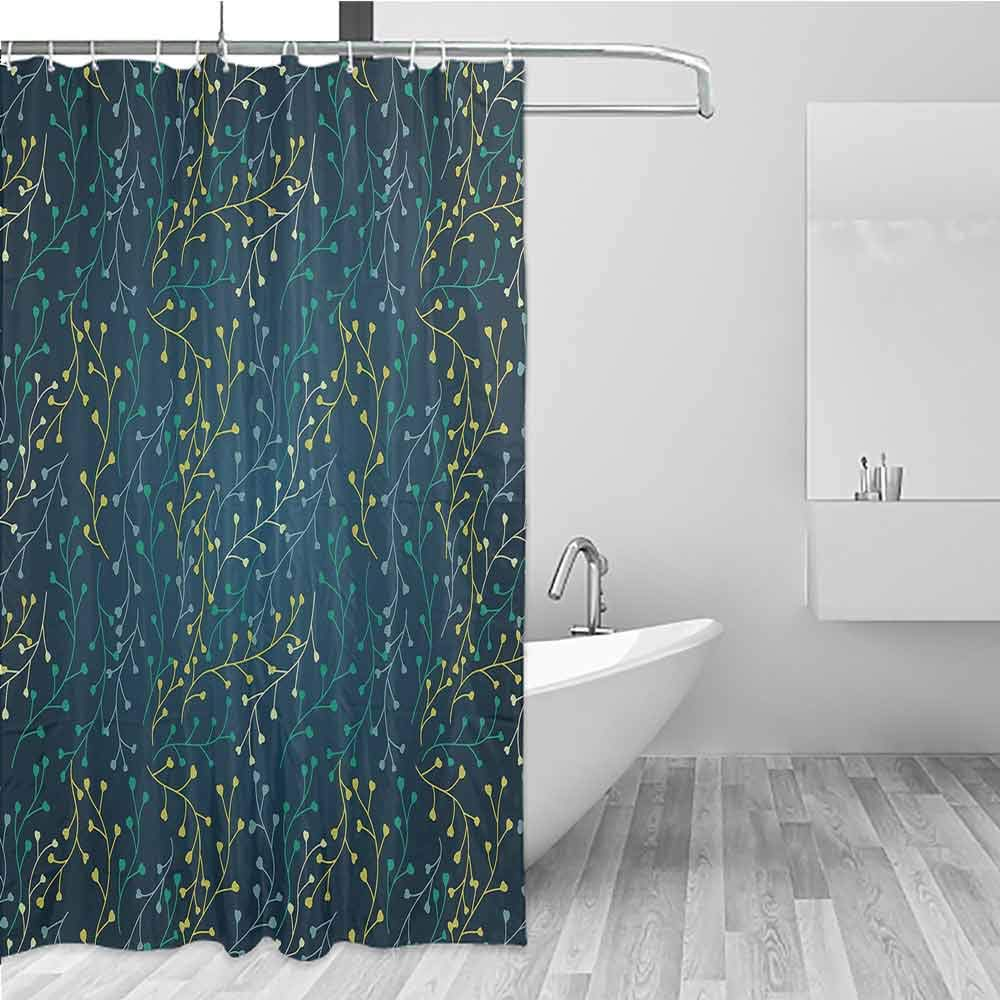 BE.SUN Bathroom Curtains,Leaves,Bathroom Curtain Washable Polyester,W55x86L Dark Blue Green Yellow by BE.SUN