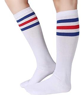 c0b433d085a Amazon.com  NeonNation Unisex White Knee High Team Tube Socks w ...