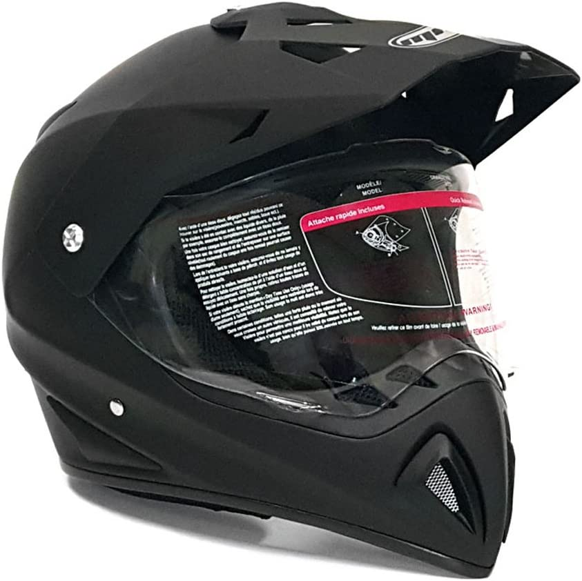 Matte Black Includes Black Gloves Size Large MMG 27V Combo Helmet Dual Sport Off Road Motorcycle Dirt Bike ATV Large FlipUp Visor