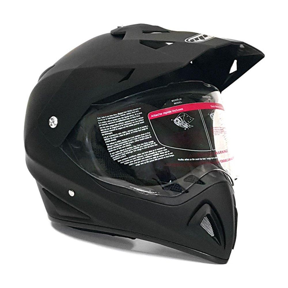 Motocross Full Face Helmet - Dual Sport Off Road Motorcycle Dirt Bike ATV – with Flip Up Visor - 27V (XL - Matte Black)