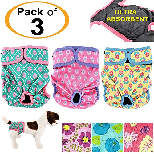 Neon Pet Pad - Pack of 3 Female Dog Diapers with 4 - Layers of Absorbent Pads Cat Panties Waterproof Leak Proof Washable (S: Waist 12