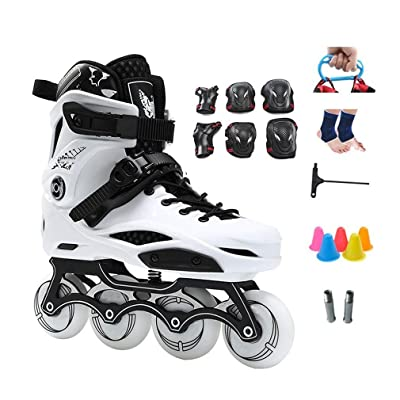 Sljj Outdoor Adult Beginner Black Inline Skate,White Racing Skates for Boys Girls (Color : White, Size : 42 EU): Home & Kitchen