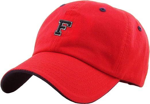 KPA-1463 RED F Alphabet Letter Dad Hat Polo Cap Adjustable  Amazon ... 2922b6eb3eee