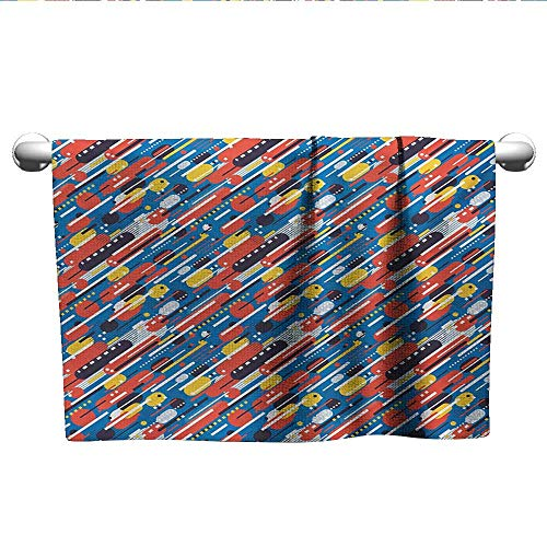 Bensonsve Bath Towel Colorful,Diagonal Geometric Shapes Pattern with Stripes Dots Squares Abstract Composition,Multicolor,Towel Sets for Bathroom ()