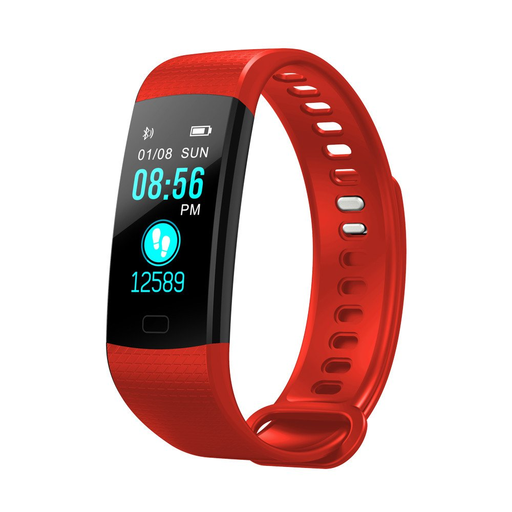 Fitness Tracker, Y5 Activity Tracker Smart Watch with Heart Rate Monitor Color Screen Waterproof Smart Bracelet with Pedometer Calorie Counter Sleep Monitor for Kids Women Men Android iOS (Red)