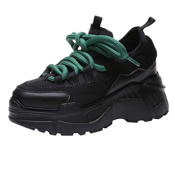 4c1ab89170f5 BaZhaHei Donna Scarpa,Ragazza Scarpe Sportive Aumenta Le Scarpe Alte  Snekers,Invernali/Autunno Tacchi Alti Scarpe Singole Stivaletti Flat Shoes  Casual con ...