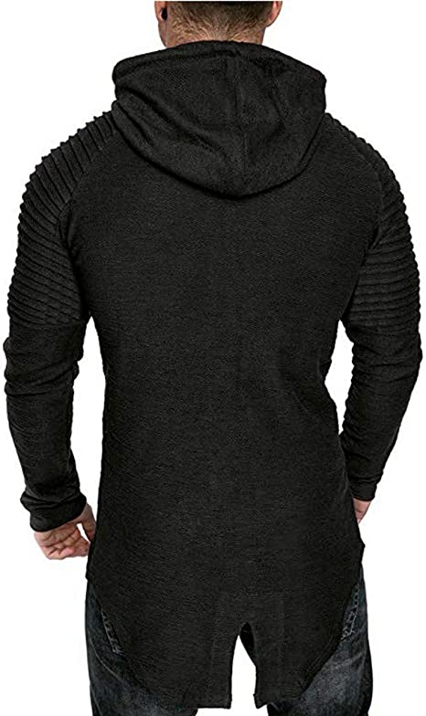 MISYAA Hoodies for Men Long Sleeve Hooded Irregular Hem Windbreaker Solid Sweatshirt Sport Outwear Gifts Mens Tops