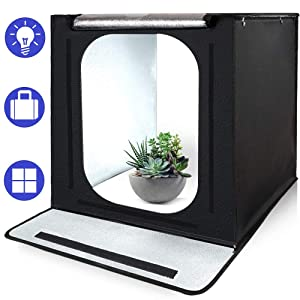 Photo Light Box, SAMTIAN Portable 16''x16''x16''Photography Studio Light Box Shooting Tent Kit with 6 Background Papers and Brightness Dimmer for Photography, Product Advertising