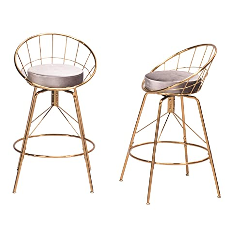 Surprising Andeworld Set Of 2 Swivel Counter Height Bar Stools Industrial Gold Bar Stools Gray Swivel 26 Inch Dailytribune Chair Design For Home Dailytribuneorg