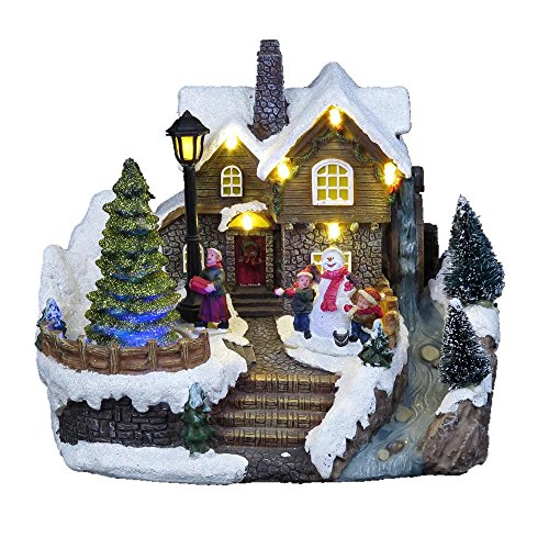 Lightahead Musical Christmas Snow House Figurine Turning Tree Scene, LED Light 8 Melodies,