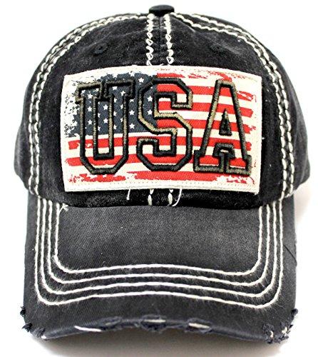 Vintage Black USA Flag Embroidery Patch Adjustable Baseball Cap