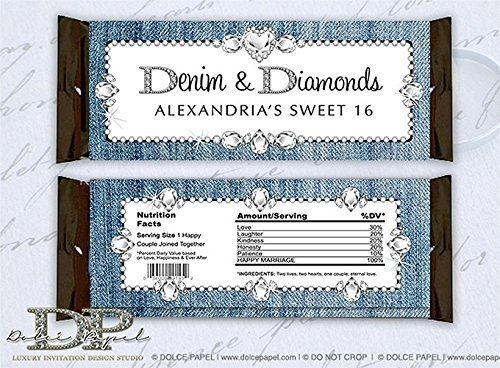 10 Denim and Diamonds Themed Custom Sweet 16 Birthday or Wedding Large Hershey's Candy Bar Wrappers ()