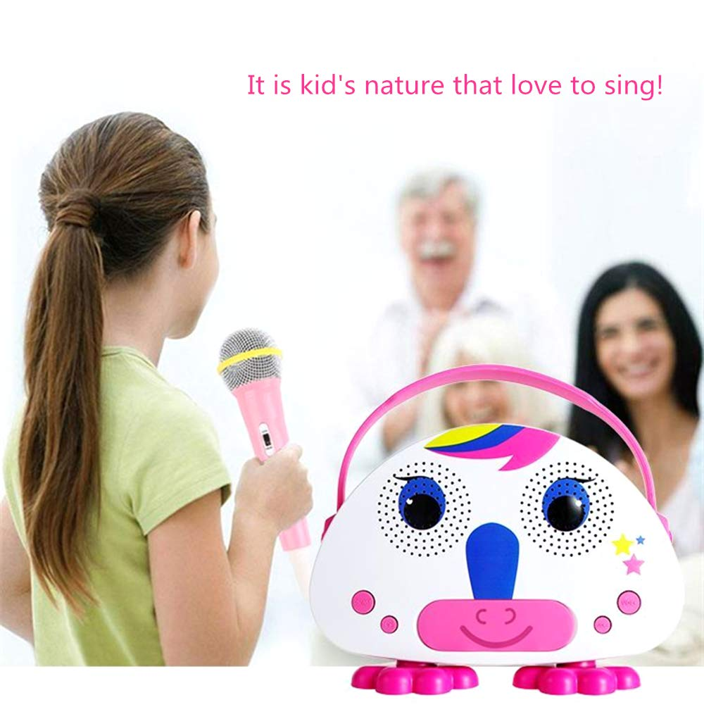 OceanEC Kids Bluetooth Karaoke Machine with Microphone, Rechargeable Children's Wireless Loudspeaker Portable Cartoon Karaoke Music MP3 Player Toy with Microphone for Party Gift (Pink) by OceanEC (Image #7)