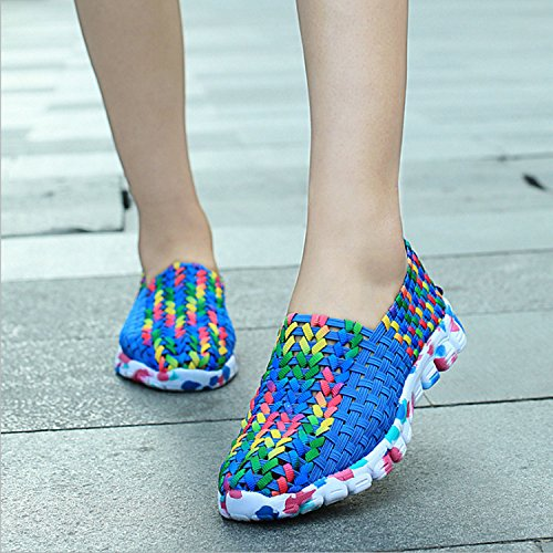 PADGENE Women Casual Hand-made Knitting Shoes Outdoor Breathable Comfortable Flats Shoes Colorful Shoes Blue oIxYRcA