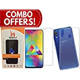 M.G.R.J® Transparent Back Cover and Tempered Glass for Samsung Galaxy M20 (Combo Pack)