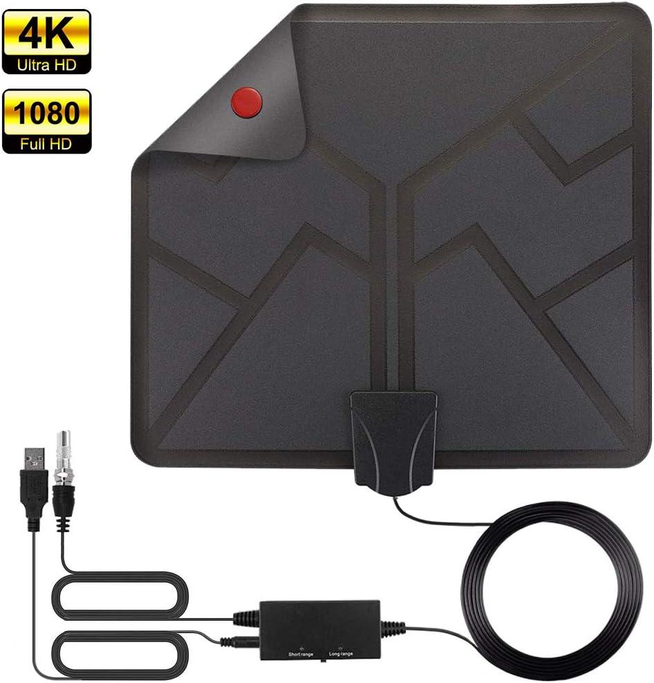Antena TV Interior, HALOVIE Antena TV Portátil HDTV Digital la última Versión con Amplificador de Señal Inteligente para Canales de TV Soporte 4K 1080 HD/VHF/UHF para DTMB, ATSC,DVB-T, DMB-T, ISDB -T: Amazon.es: