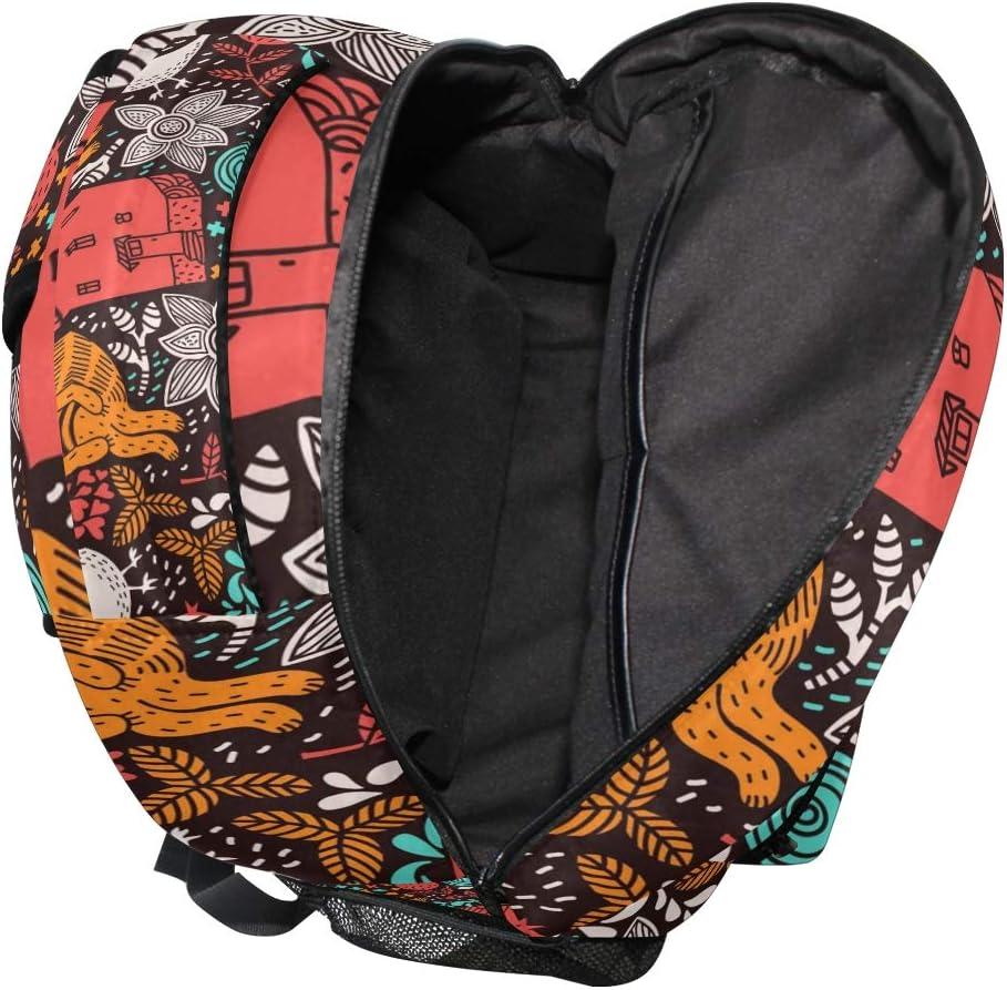 Colorful Animals Backpacks Travel Laptop Daypack School Bags for Teens Men Women