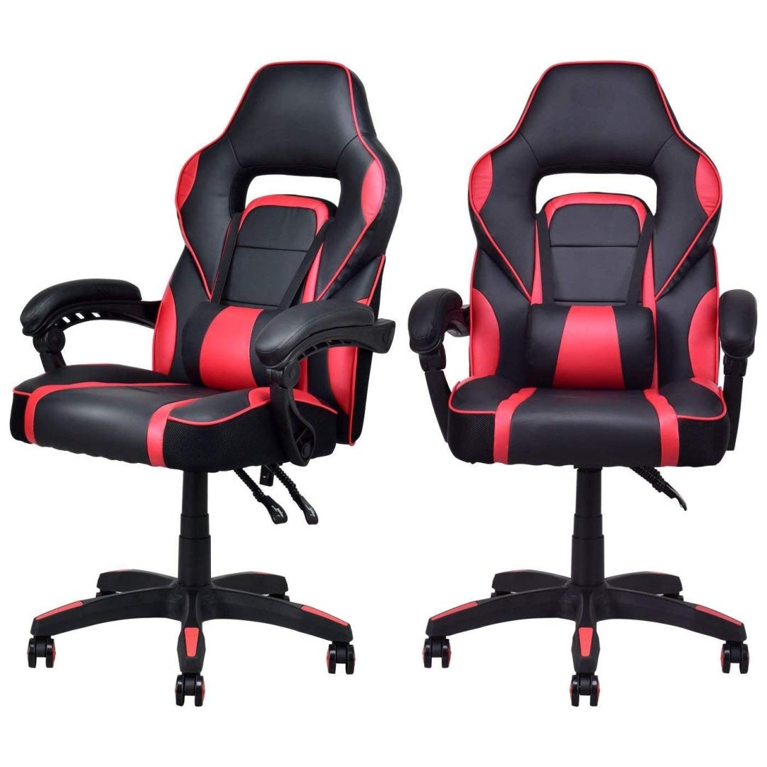 Modern Racing Style Gaming Chairs Thick Padded Seat PU Leather Upholstery Adjustable Recline Design Chair with Waist Pillow Home Office Furniture Decor - Set of 4 Red #2115 by KLS14