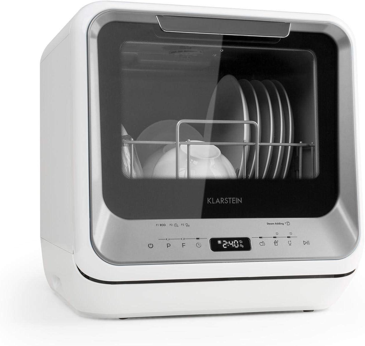 Klarstein Amazonia Mini - Lavavajillas, Máquina lavaplatos, 6 programas: eco, una hora, rápido, fruta, desinfección por calor, vidrio, Necesita 5 litros de agua, Pantalla LED, Táctil, Plateado