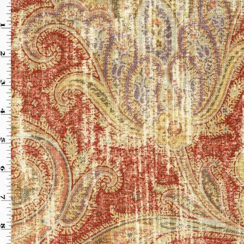 Red/Multi P Kaufmann Paisley Print Chenille Decor Fabric, Fabric by The - Chenille Fabric Medium Brown