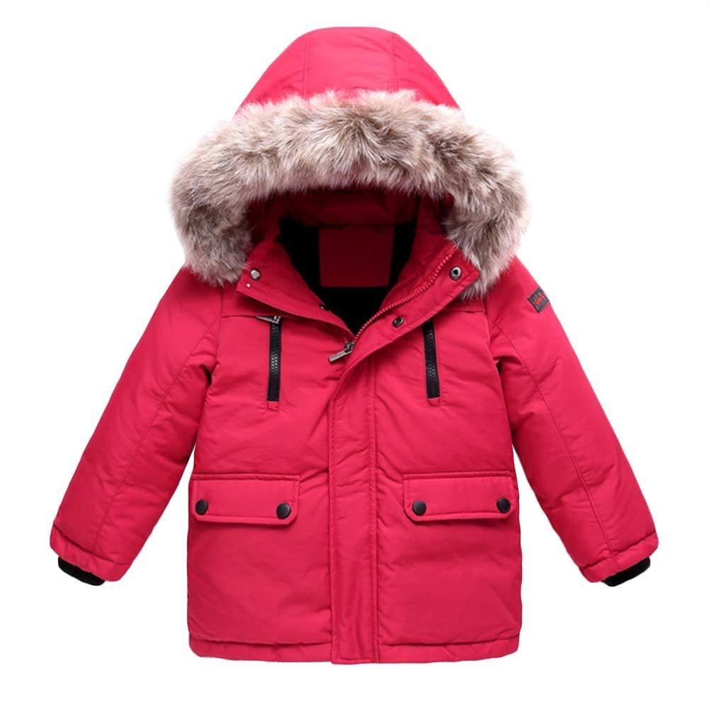 AMIYAN Baby M/ädchen Jungen Dauenjacke Winter Mantel Warm Winter Kapuzenjacke mit Kunstfell Dicke Winterjacke Outerwear 2-6 Jahre