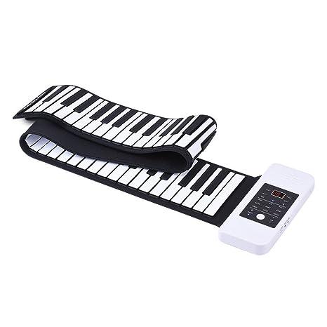 88 Teclas Piano electrónico, piano profesional plegable con doble fuente de alimentación portátil elástica,