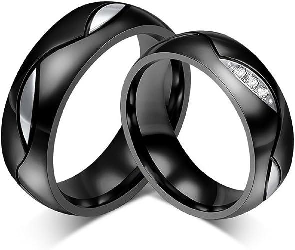 Rowag Novelty Mens Black Titanium Stainless Steel Couple Wedding