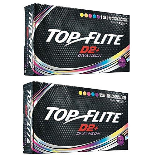 2pk Top Flite Womens D2+ Diva Neon Golf Balls - 30 Balls ()