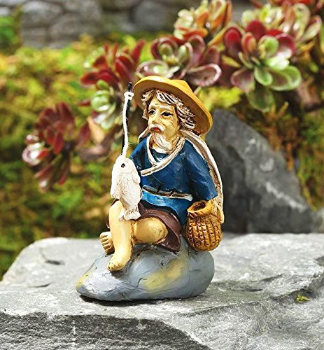 Miniature Fairy Garden Zen Fishing Mud Man - My Mini Garden Dollhouse...