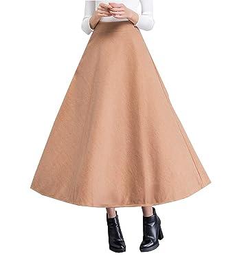 Vintage Caliente Larga Falda Lana Otoño de Las Mujeres y la Moda ...