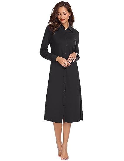 Ekouaer Womens Victorian Nightgown Pajama Top Buttom Down Sleep Shirt Dress (Black a5415d0ad