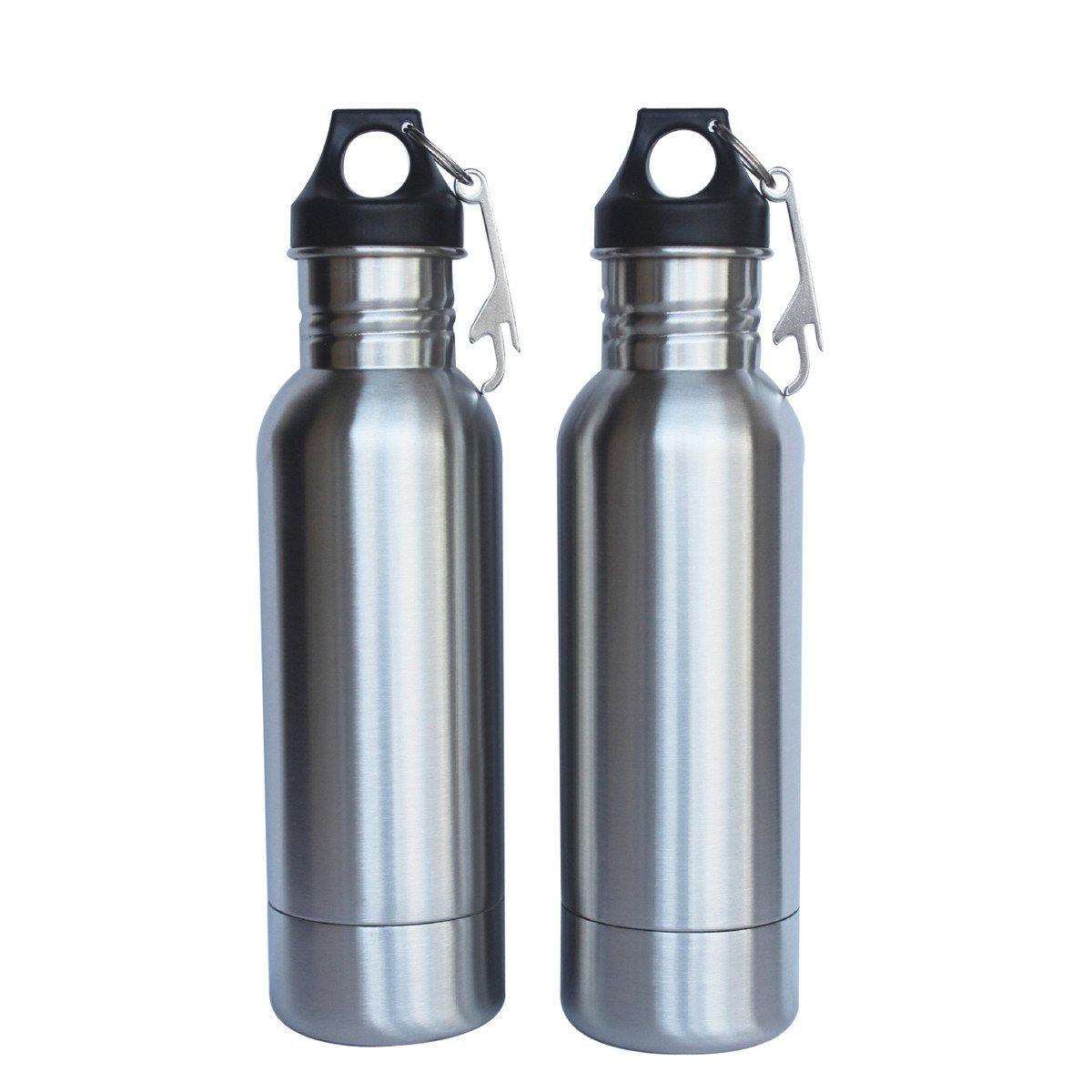 JJCF 12oz Stainless Steel Beer Bottle Holder Insulator Beverage Keeper with Bottle Opener Keeps Beer Cold Longer (2 Pack)