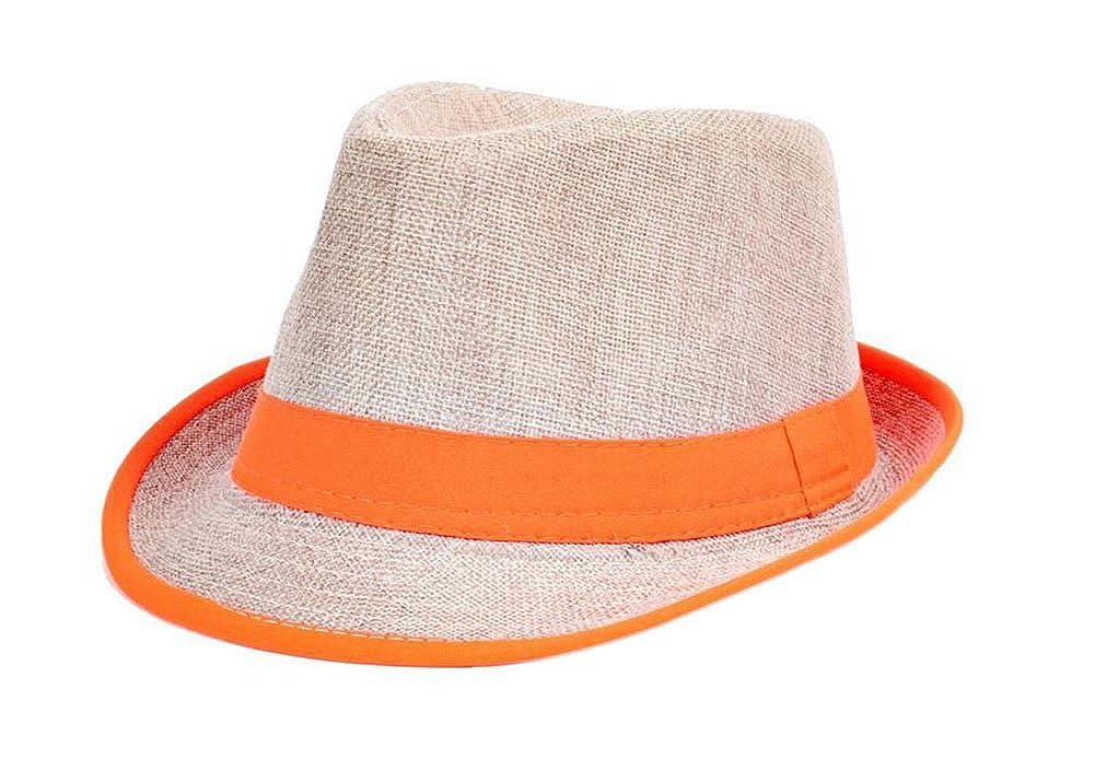 Leisial Panamahüte Unisex Traveller Sonnehüte Jazzhut Flexible Sommer Strohhut Strand Hüte Natürlichen Faser Handgewebt, Orange VOZ2182855NZJKH104