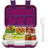 Frebw 4-Compartment Bento, Leak-proof Insulated Lunch Boxes with Spoon, Eco-Friendly Reusable BPA Free Food-Safe…